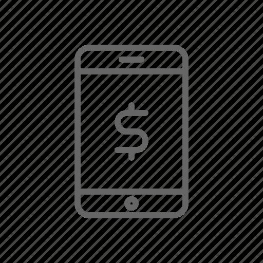 csh, dollar, finance, line, mobile, money, phone icon