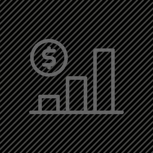 dollar, finance, growth, line, money, schedule, statistics icon