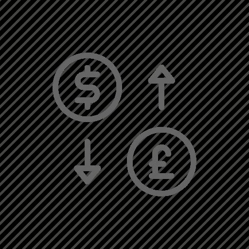 cash, exchange, finance, line, money, pound, sollar icon