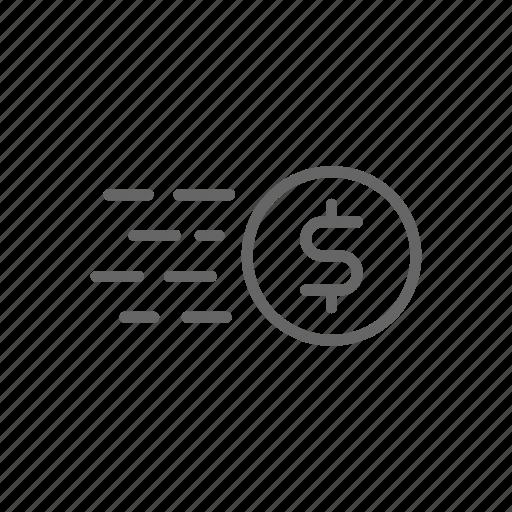 cash, coin, dollar, finance, line, money, send icon