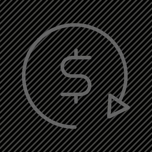dollar, earn, finance, line, money, refresh, update icon