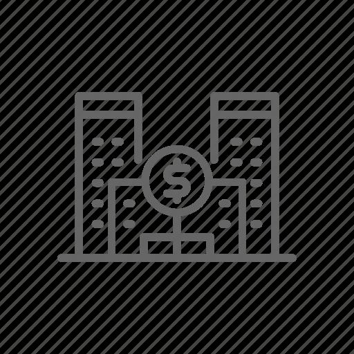 bank, building, cash, finance, line, loan, money icon