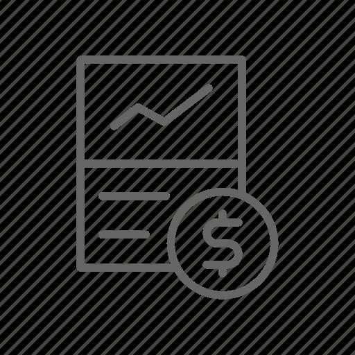 coin, dollar, finance, line, money, schedule, statistic icon