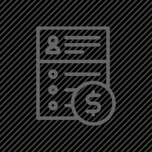 agreement, cv, dollar, finance, line, money, offer icon