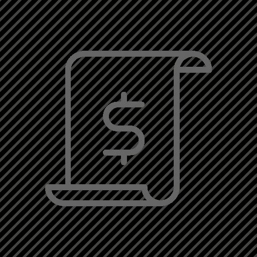 doc, dollar, finance, line, money, paper, price icon