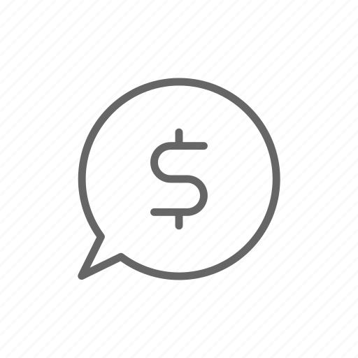 bubble, chat, dollar, finance, line, money, offer icon