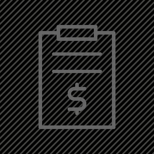 board, dash, dollar, finance, line, money, task icon