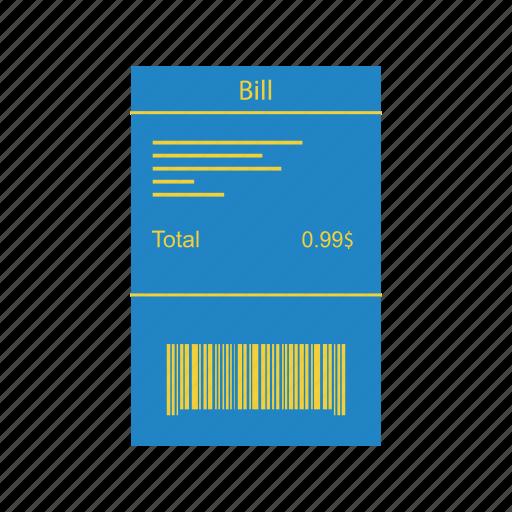 bill, finance, invoice, money icon