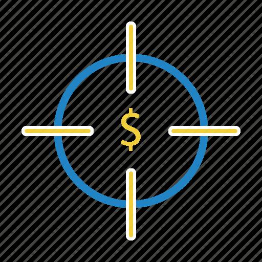 aim, dollar, finance, target icon