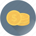 cash, coins, currency coins, dollar, money icon