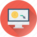 cost per click, dollar, monitor, pay per click, ppc icon