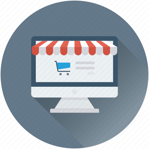 e commerce, eshop, monitor, online shopping, shopping trolley icon