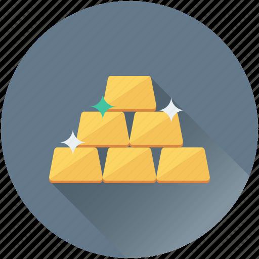 gold bars, gold bricks, gold ingots, gold pile, gold reserve icon