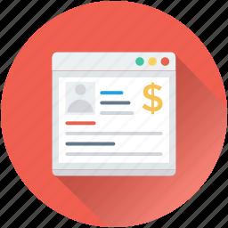 dollar, ecommerce, online business, online earning, online work icon