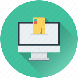 banking, credit card, debit card, monitor, online banking icon