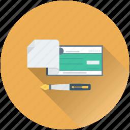 cheque, pen, receipt, signing, voucher icon