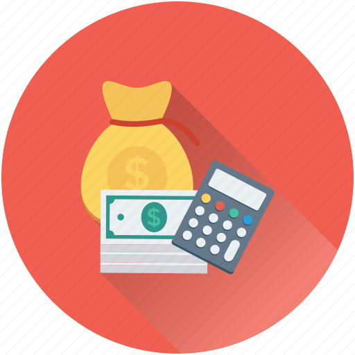 accounting, banknotes, calculator, currency, dollar sack icon