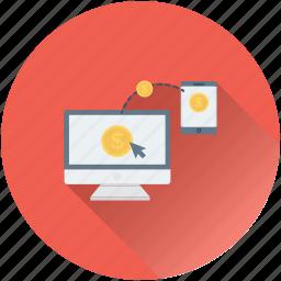 cost per click, dollar, monitor, pay per click, ppc icon