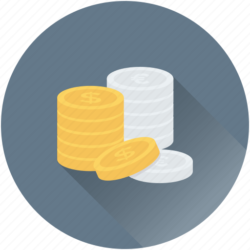 cash, coins stack, currency coins, money, wealth icon