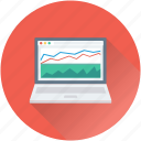 analytics, laptop, online graph, statistics, stock graph icon
