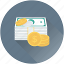 banknotes, cash, dollar coins, finance, money icon
