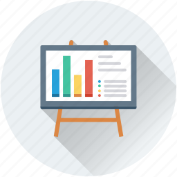 bar chart, business presentation, chalkboard, easel, graph presentation icon