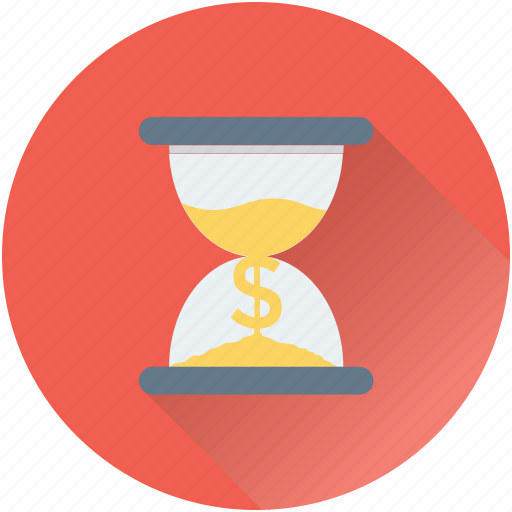 dollar, hourglass, tax reminder, time is money, wait icon