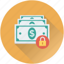 cash, finance, lock, money protection, money security icon
