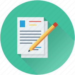 article writing, document, paper, pencil, sheet icon