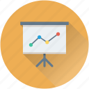 analytics, chalkboard, easel, graph presentation, presentation icon