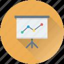 analytics, easel, presentation, chalkboard, graph presentation