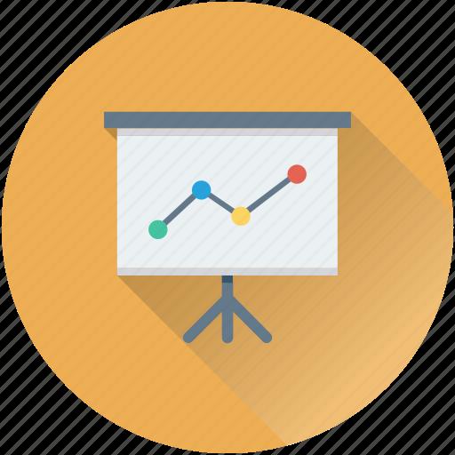 analytics, chalkboard, easel, graph presentation, presentation icon