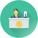 accountant, businessman, clerk, employee, office desk icon