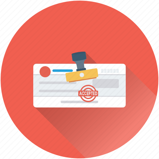 authorization, banking, cheque, cheque approved, stamp icon