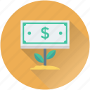 banknote, business growth, dollar, investment, money plant icon