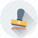 accept, approved, authorized, stamp, verified