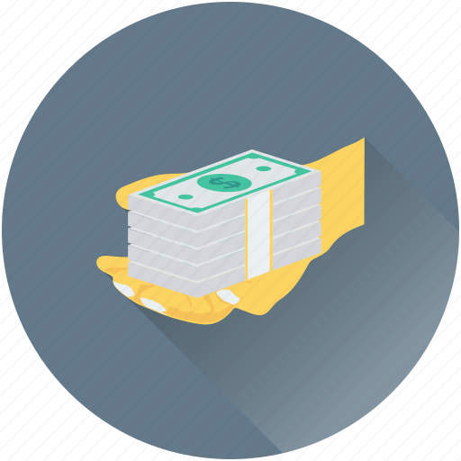 banknotes, cash in hand, currency, hand, payment icon