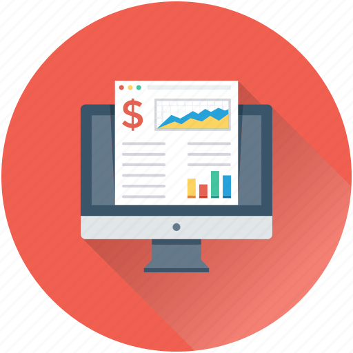 analytics, monitor, report, sales report, stock report icon