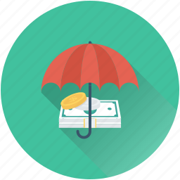 currency, insurance, money protection, safe banking, umbrella icon