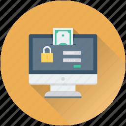 bank login, monitor, online banking, safe banking, secure banking icon