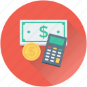 accounting, banknotes, calculator, currency, dollar