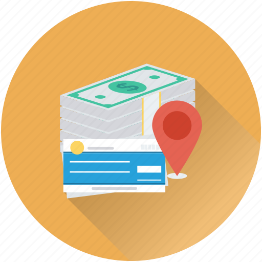 bank location, banking, banknotes, cheque, map pin icon