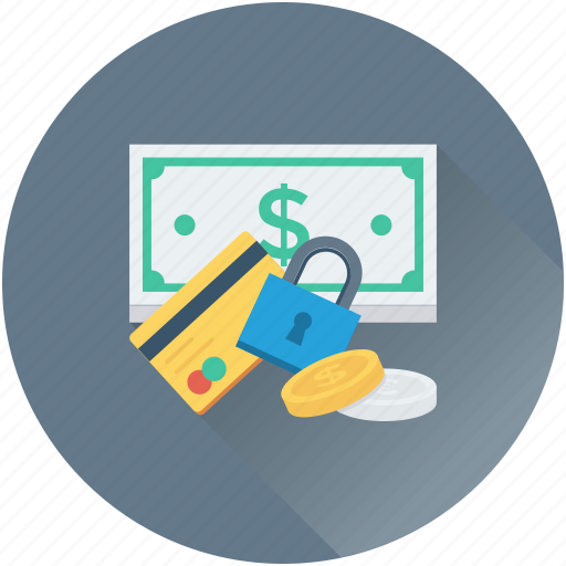 banknote, credit card, dollar, money security, safe baking icon