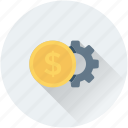 banking, cog, commerce, dollar, investment plan icon