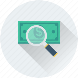 commerce, magnifier dollar, searching finance, searching money icon