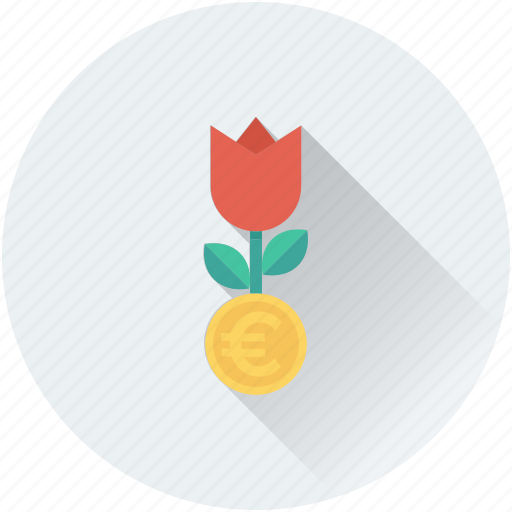 business expand, business growth, euro, investment, money plant icon