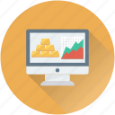 gold ingots, graph, monitor, online banking, stock report