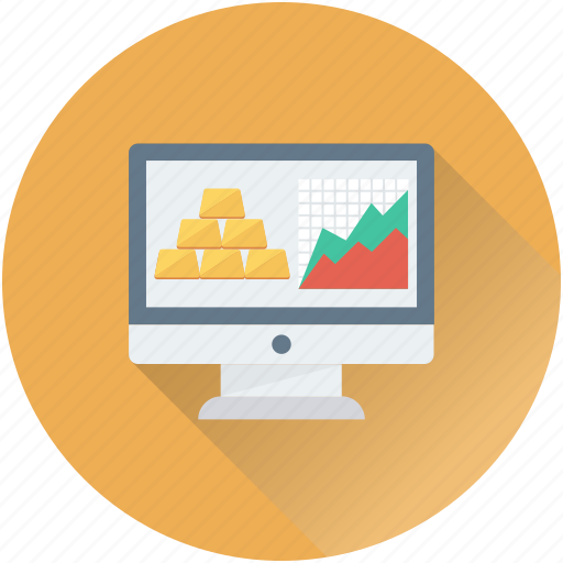 gold ingots, graph, monitor, online banking, stock report icon