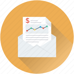 analytics, envelope, graph report, report, statistics icon