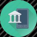 bank, banking, building, mobile, online banking